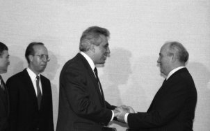 The first meeting between the General Secretaries of the Central Committee of the SED, Egon Krenz, and of the CPSU, Mikhail Gorbachev, took place in Moscow, 1 November 1989.