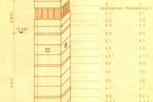 Construction blueprint of the nine-metre-tall observation tower (BT 9) of the GDR border troops