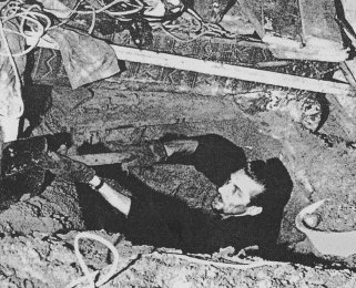 Siegfried Noffke, born on Dec. 9, 1939, shot dead on June 28, 1962 while assisting an escape operation: Escape tunnel being dug beneath Sebastianstrasse between West and East Berlin (photo: June 1962)
