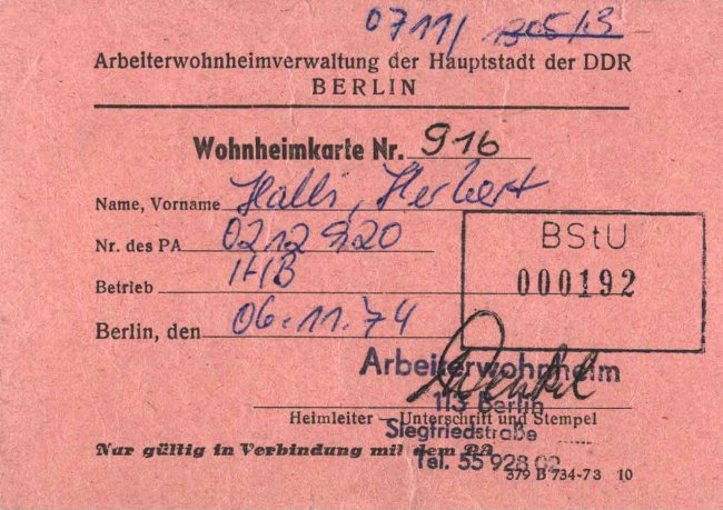 Herbert Halli, shot dead at the Berlin Wall: Dormitory card, Nov. 6, 1974