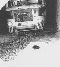 Manfred Mäder, shot dead at the Berlin Wall: MfS photo of escape vehicle [Nov. 21, 1986]