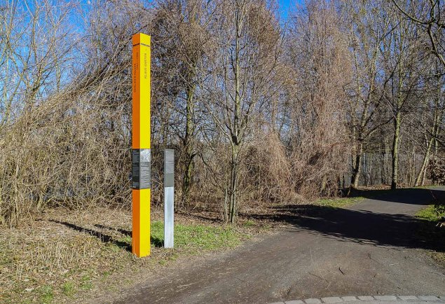 Klaus Garten: Commemorative Column on the bank of the Teltow Canal on the Paul-Gerhardt-Straße