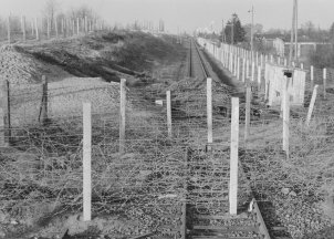 The day after the train escape of 5 December 1961: rails are dismantled and barriers are erected on the section of track between Albrechtshof (GDR) and the West Berlin district of Spandau, January 1962
