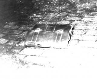 Unidentified fugitive, drowned in the Berlin border waters: East German border troop photo of the brief case that was left behind [Jan. 19, 1965]