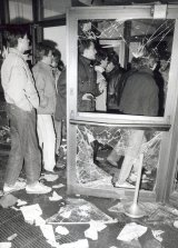 Demonstrators storm the headquarters of the Ministry for State Security in Lichtenberg, Berlin, 15 January 1990