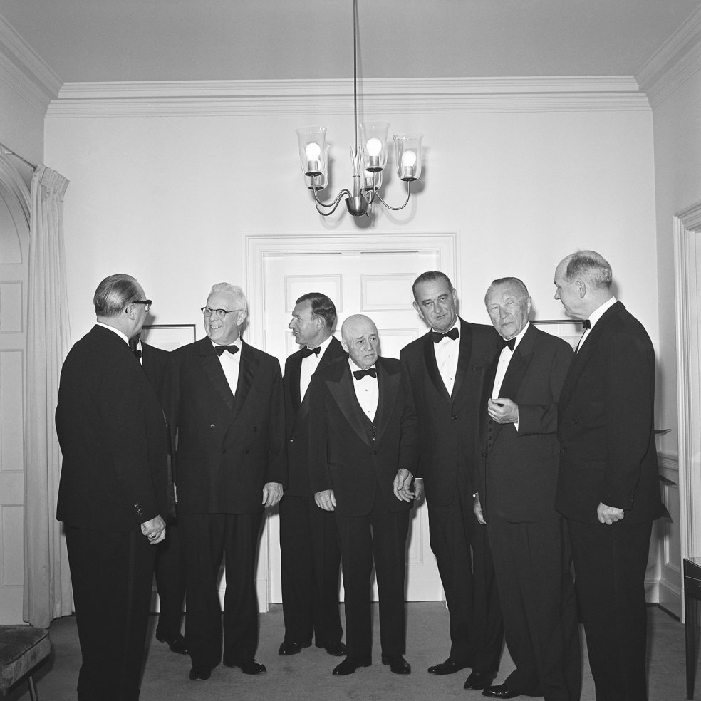 West German Chancellor Konrad Adenauer with US Vice President Lyndon B. Johnson (3rd from r.) and US Secretary of State Dean Rusk (r.), April 1961