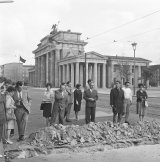 Torn-up street at the Brandenburg Gate, 13 August 1961