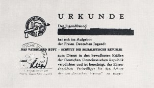 Certificate for taking part in the FDJ (Free German Youth) military musters
