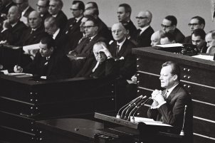 Willy Brandt during the debate in the German Bundestag on the government statement, 6 December 1961