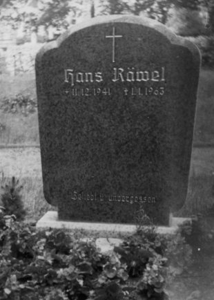 Hans Räwel, shot dead in the Berlin border waters: Grave in Rahnsdorf (date of photo not known)