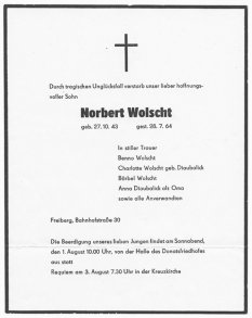 Norbert Wolscht, drowned in the Berlin border waters: Obituary [July 1964]