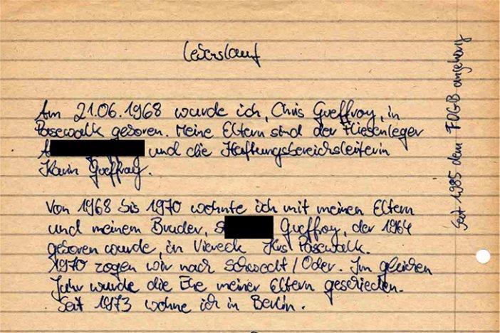 Chris Gueffroy Handschriftlicher Lebenslauf Chronik Der Mauer