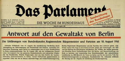 Title page of the newspaper Das Parlament of 23 August 1961
