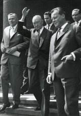West German Chancellor Dr. Konrad Adenauer und Willy Brandt, Ruling Mayor of Berlin