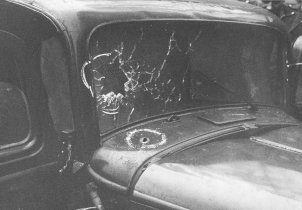 The windscreen of the Opel used as an escape vehicle is protected by steel plating, 14 November 1961