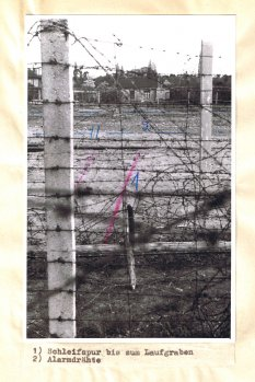 Horst Frank, shot dead at the Berlin Wall: West Berlin police crime site photo of the border fortifications with markings of escape attempt between Pankow and Reinickendorf marked [April 29, 1962]