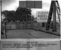Siegfried Widera, border solder knocked out at the Berlin Wall by fugitives and died later from his injuries: West Berlin police crime site photo of the border fortifications at the Massante Bridge between Berlin-Treptow and Berlin-Neukölln [Aug. 23, 1963