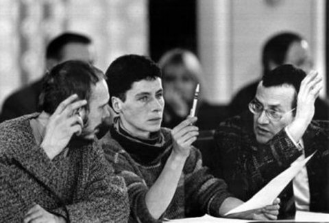 "Representatives of ""Neues Forum"" (from l. to r.): Reinhard Schult, Ingrid Köppe, Rolf Henrich during a meeting of the ""Central Round Table"" in East Berlin, 3 January 1990"