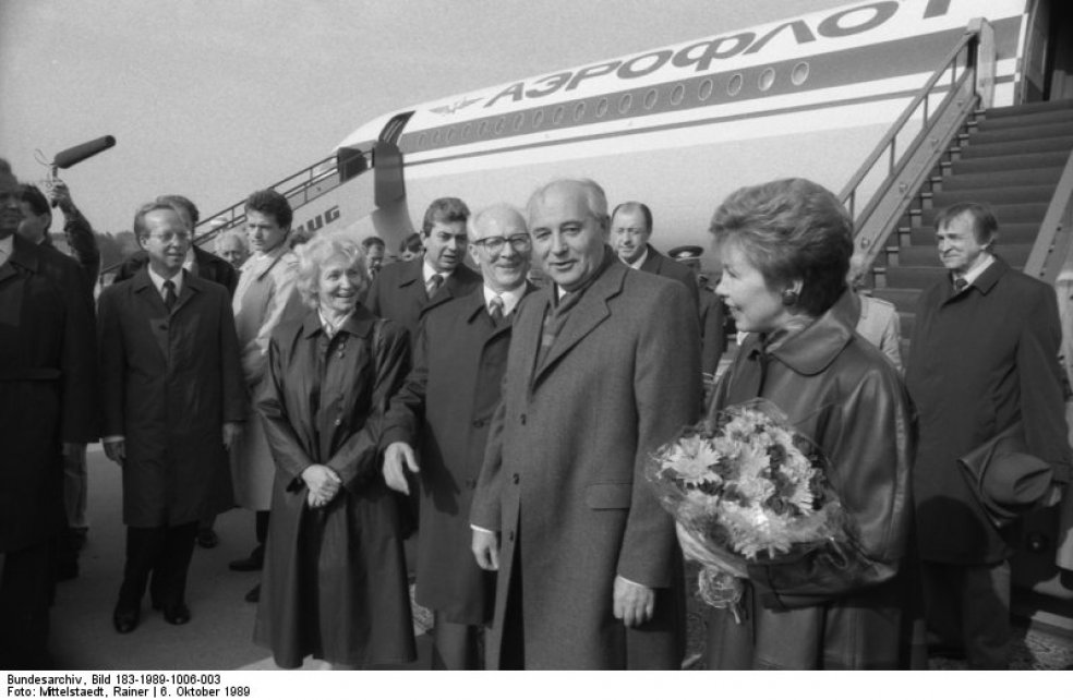 Mikhail Gorbachev arrives to take part in celebrations for the 40th anniversary of the GDR in Berlin on 6 November 1989