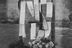 Ida Siekmann, fatally injured at the Berlin Wall: Memorial erected by the Wedding district office in September 1961 (photo: 1961)