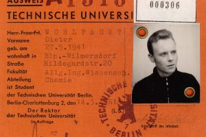 Dieter Wohlfahrt: born on May 27, 1941, shot dead at the Berlin Wall on Dec. 9, 1961 while assisting an escape operation: Student ID from the TU Berlin (March 1961)