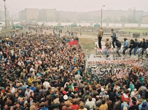 East and West Berliners at the new border crossing Potsdam Square, 12 November 1989