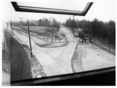 Helmut Kliem, shot dead at the Berlin Wall: View from the watchtower to the border grounds and access road [Nov. 13, 1970]