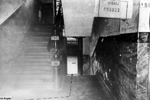 Egon Schultz, shot dead at the Berlin Wall: MfS photo of the pathway through the building corridor to the tunnel entrance at Strelitzer Strasse 55 [Oct. 5, 1964]