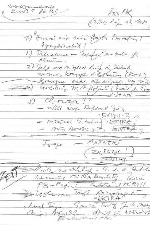 "Schabowski's handwritten ""road map"" for the international press conference on 9 November 1989 (facsimile in German)"