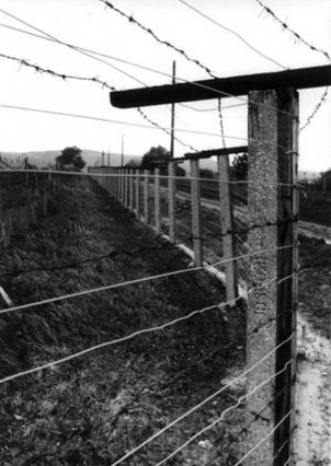 "Barbed-wire fence with electric alarm system – an element of the Hungarian ""Iron Curtain"""