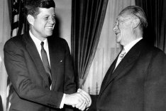 US President John F. Kennedy receives West German Chancellor Konrad Adenauer in Washington, April 1961