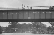 Hermann Döbler, shot dead on the Berlin border waters: Photo of the Teltow Canal near the Dreilinden border crossing with a sketch of the incident [June 15, 1965]