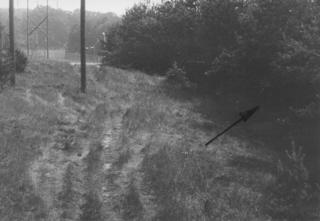Willi Born, suicide at the Berlin Wall: East German border troop crime site photo marking the escape site in a patch of woods in Bergfelde [July 7, 1970]