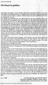 Statement by Neues Forum on the fall of the Wall, 12 November 1989