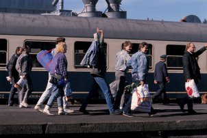 Arrival of GDR refugees in Ahlsfeld, October 1989