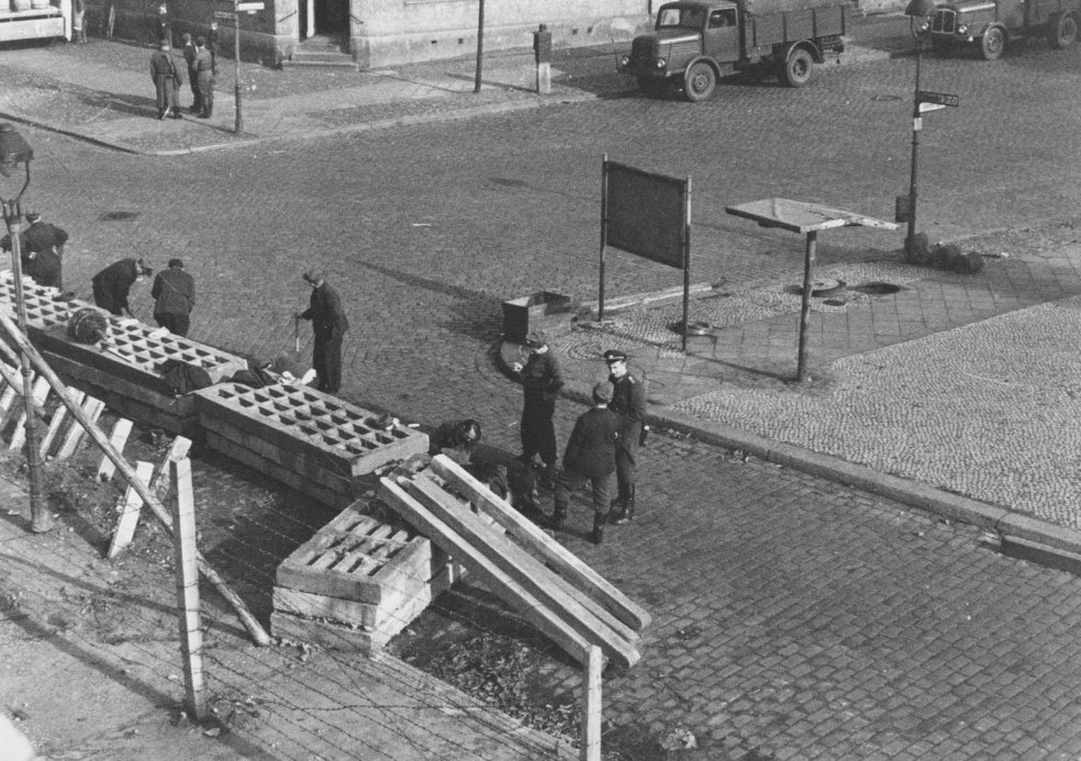 Piled-up cement slabs block off a former crossing between the districts of Mitte (East Berlin) and Wedding (West Berlin), 18 October 1961
