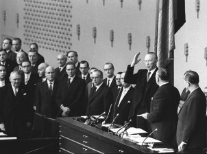 Final inauguration of Konrad Adenauer as West German chancellor in the German Bundestag, 7 November 1961. CDU Economy Minister Ludwig Erhard (left) succeeds him in 1964.