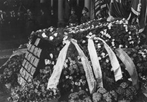 Yuri Andropov's coffin in the columned hall of the House of the Unions, Moscow, 12 February 1984