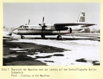 Christel and Eckhard Wehage, suicide following failed escape attempt at Berlin-Schönefeld airport: MfS crime site photo of the airplane after landing in Berlin-Schönefeld [March 10, 1970]
